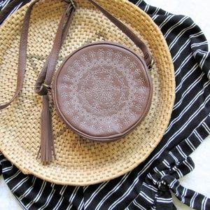 Handbags - Boho vegan leather canteen round crossbody bag